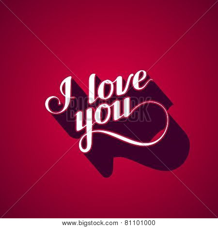vector typographic illustration of handwritten I love you  retro label. lettering composition