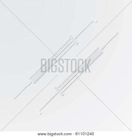 Insulin Syringe Cut Out Of Paper Style On Gray Background