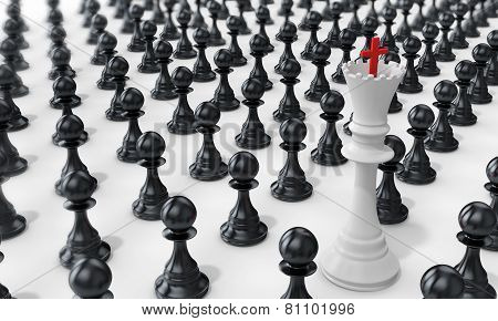 3D Pawn Army With White  Queen Leading