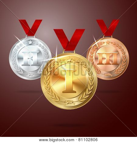 Vector Golden, Silver and Bronze medal set with red ribbons. vector