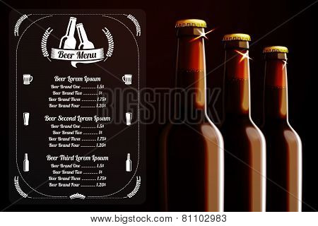 Menu template - beer and alcohol, with place for logo
