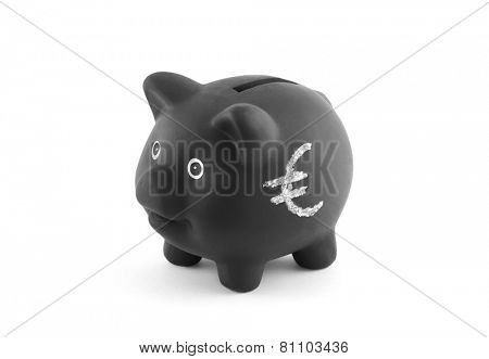 Black piggy bank with euro sign. Clipping path included.