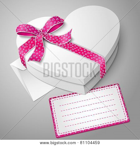 Vector realistic blank white heart shape box with envelope and message card for your text.