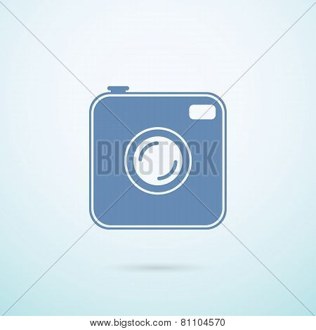 Old Photocamera Flat Icon On Blue Background