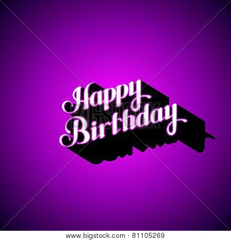 vector typographic illustration of handwritten Happy Birthday retro label. lettering composition