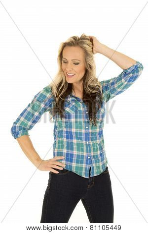 Cowgirl Blue Shirt Hand In Hair Look Down