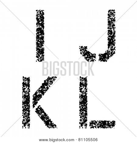 vector stencil angular spray font letters I J K L