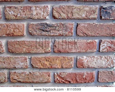 Vintage Red Brick Wall, Closeup Stone Texture