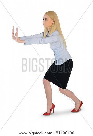 Isolated business woman push something