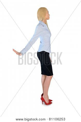Isolated business woman rejection hand