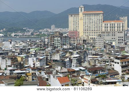 Exterior of the downtown Macau residential buildings in Macau, China.
