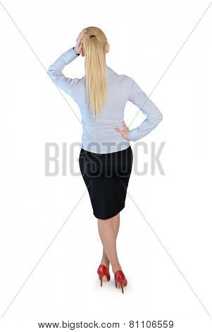 Isolated business woman thinking