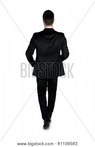 Isolated business man walking away