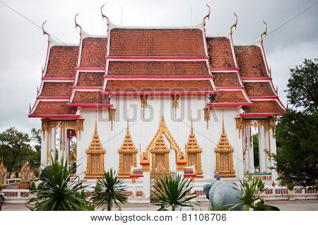 Buddhist island beautiful temple with red roof
