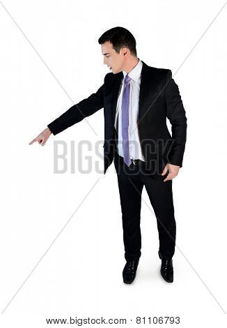 Isolated business man pointing down