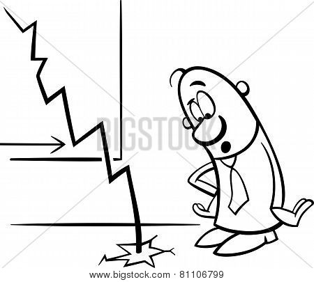 Man And Economic Crisis Cartoon