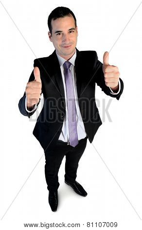 Isolated business man show ok sign