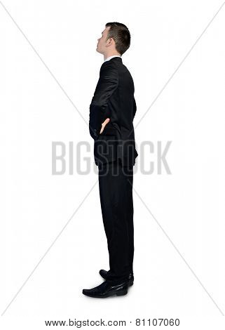 Isolated business man looking corner