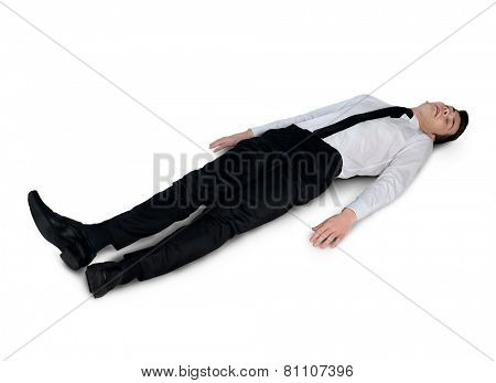 Isolated business man very tired
