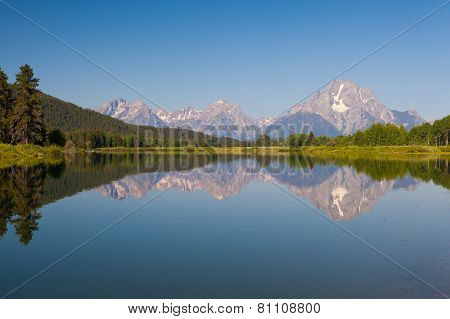 View Of The Grand Teton Mountains From Oxbow Bend On The Snake River. Grand Teton National Park,