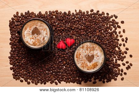 Two Coffee Cups And Two Heart