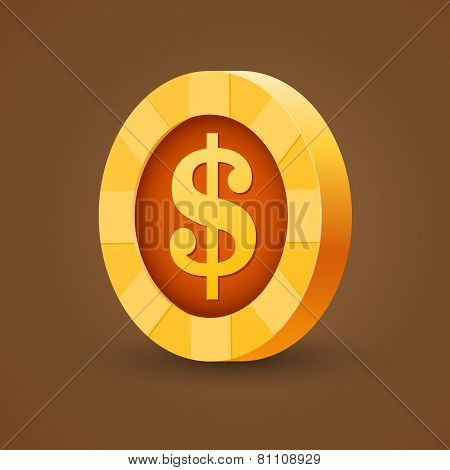 Gold coin of dollar isolated on dark background
