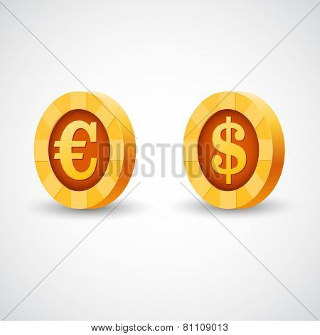Gold coin of dollar anf euro