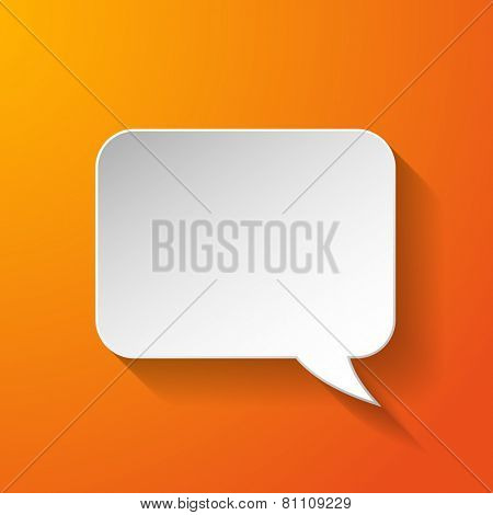 White paper speech bubble on orange background. Vector eps10 illustration