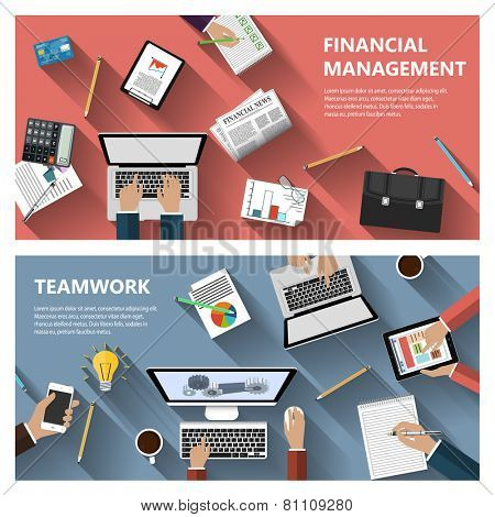 Modern flat design financial menagement and teamwork concept  for e-business, web sites, mobile applications, banners, corporate brochures, book covers, layouts etc. Vector eps10 illustration