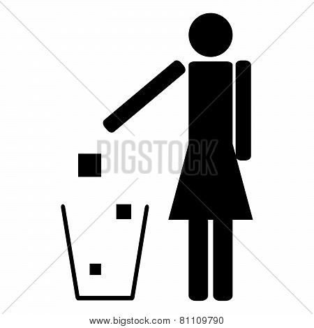Woman Throwing Trash Ecology