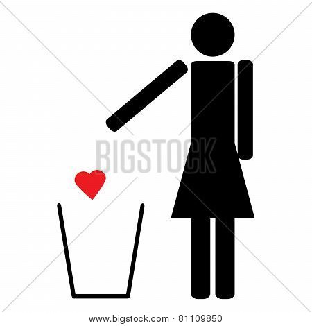 Woman Throws A Red Heart In The Trash
