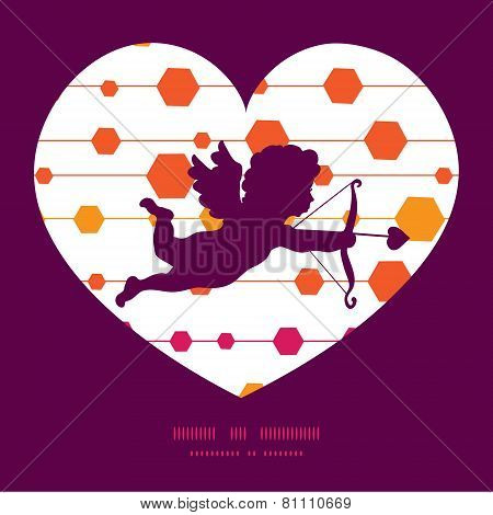 Vector abstract colorful stripes and shapes shooting cupid silhouette frame pattern invitation greet