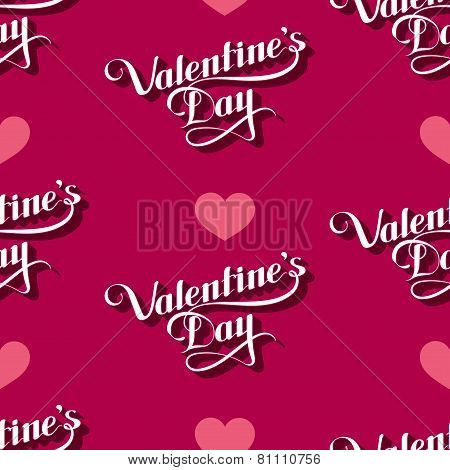 vector seamless pattern of handwritten St. Valentines Day retro labels and hearts. holiday lettering