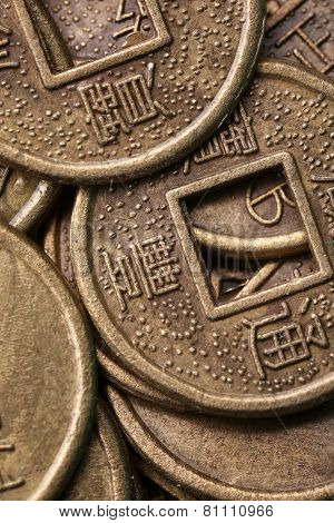 Feng shui coins close-up