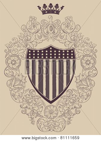 Vintage frame with American shield. Vector.