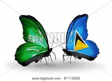 Two Butterflies With Flags On Wings As Symbol Of Relations Saudi Arabia And Saint Lucia