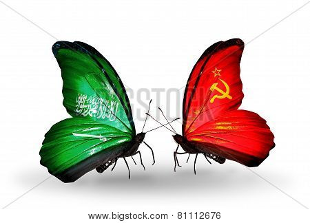 Two Butterflies With Flags On Wings As Symbol Of Relations Saudi Arabia And Soviet Union