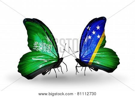 Two Butterflies With Flags On Wings As Symbol Of Relations Saudi Arabia And Solomon Islands