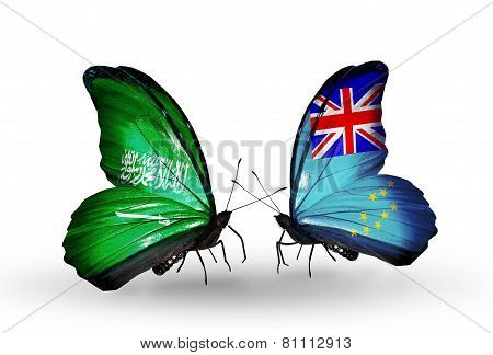 Two Butterflies With Flags On Wings As Symbol Of Relations Saudi Arabia And Tuvalu