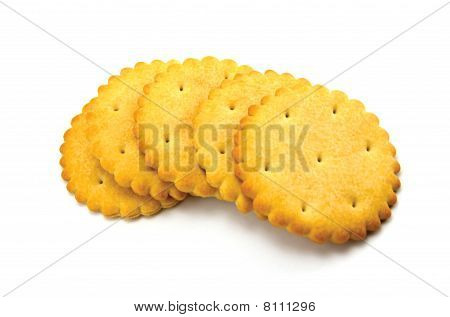Five Crackers Isolated Macro Closeup