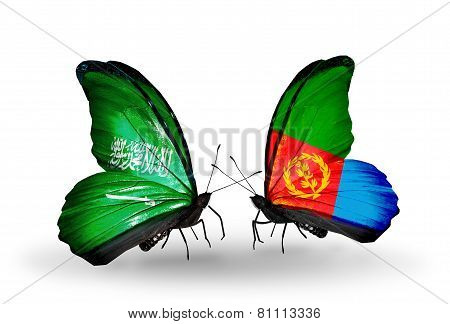 Two Butterflies With Flags On Wings As Symbol Of Relations Saudi Arabia And Eritrea
