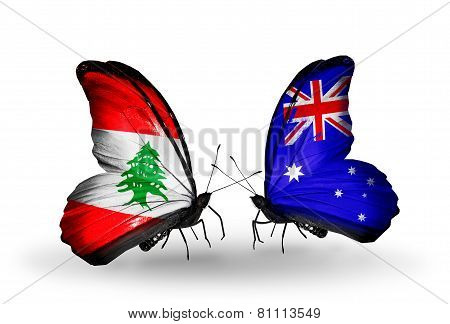 Two Butterflies With Flags On Wings As Symbol Of Relations Lebanon And Australia