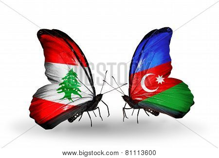 Two Butterflies With Flags On Wings As Symbol Of Relations Lebanon And Azerbaijan