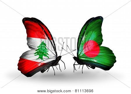 Two Butterflies With Flags On Wings As Symbol Of Relations Lebanon And Bangladesh