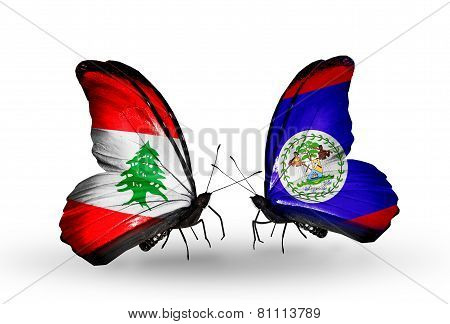 Two Butterflies With Flags On Wings As Symbol Of Relations Lebanon And Belize