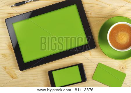 Tablet Computer, Mobile Phone And Business Card