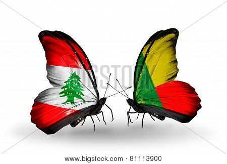 Two Butterflies With Flags On Wings As Symbol Of Relations Lebanon And Benin
