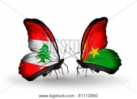 Two Butterflies With Flags On Wings As Symbol Of Relations Lebanon And Burkina Faso