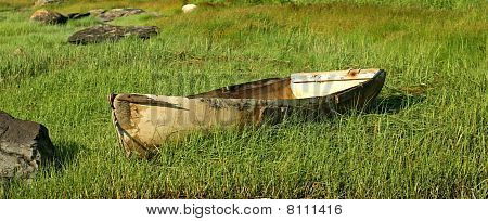 Old worn out fiberglass boat