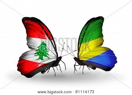 Two Butterflies With Flags On Wings As Symbol Of Relations Lebanon And Gabon
